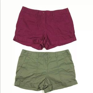 Ann Taylor Loft 100% Maroon And Green Cargo Shorts